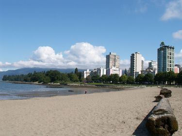 Beautiful sandy beach lining English Bay