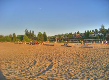 Playing Beach Volleyball at Spanish Banks