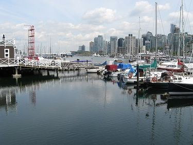 Looking Back Across the Harbour Toward Downtown Vancouver from  the Entrance to Stanley Park