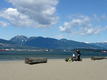 Looking Towards Stanley Park and the Mountains from Jericho Beach