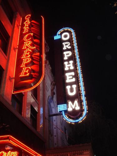 Orpheum Theatre Neon Sign added in the 70's