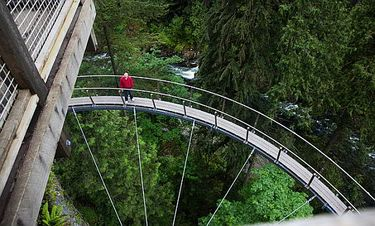 Braving the new Cliffwalk attraction at Capilano Suspension Bridge Park