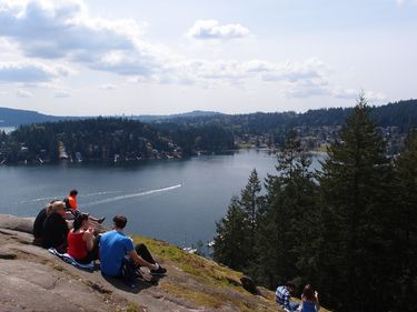 Spectacular view of Deep Cove from the Quarry Rock Lookout hike