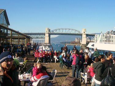 Enjoying a sunny winter day at Granville Island
