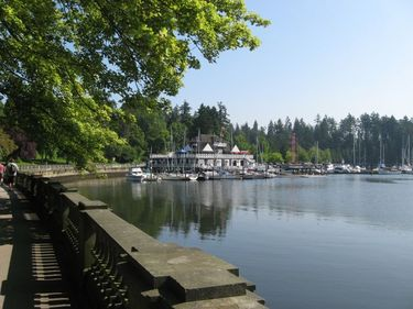 Looking towards the Yacht Club at the entrance to Stanley Park