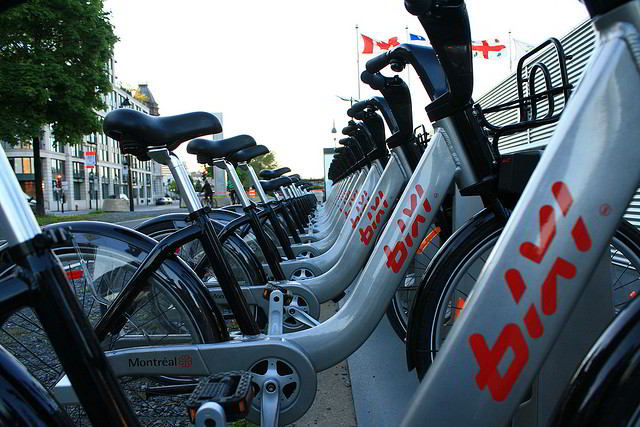 BIXI Bikes lined up in Old Montreal