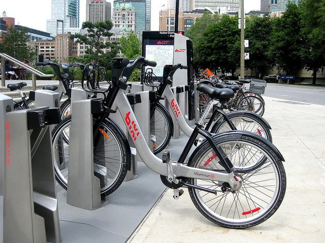 BIXI Bike rental station and kiosk
