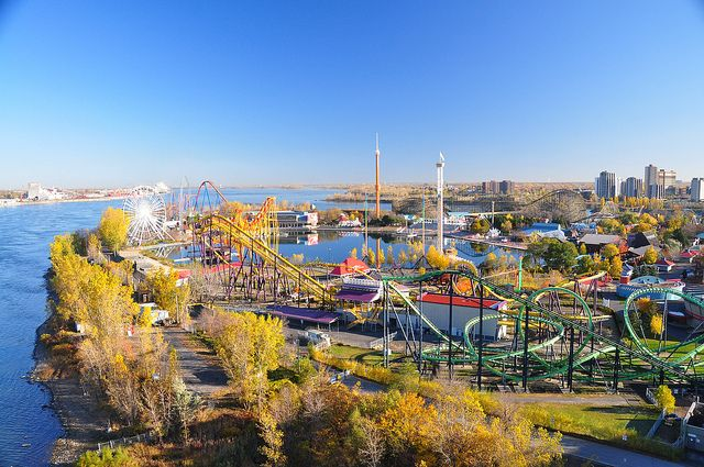 A overview of La Ronde amusement park and its many roller coasters