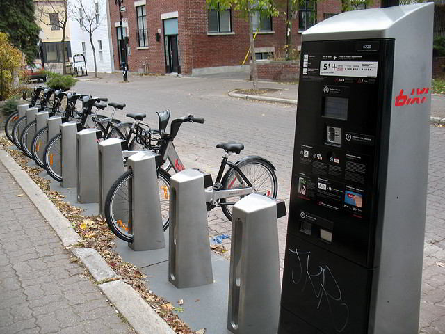 Montreal has bicycle rental stations downtown similar to the Velib in Paris