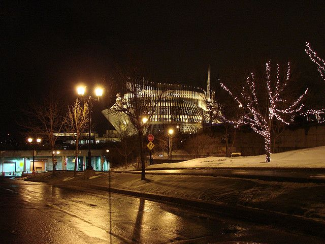 View of the Casino on a wintry night