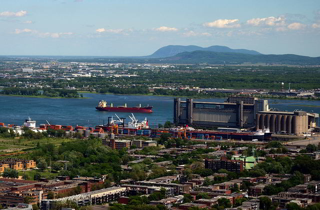 View towards the Saint Lawrence River from the observatory on the Montreal Tower