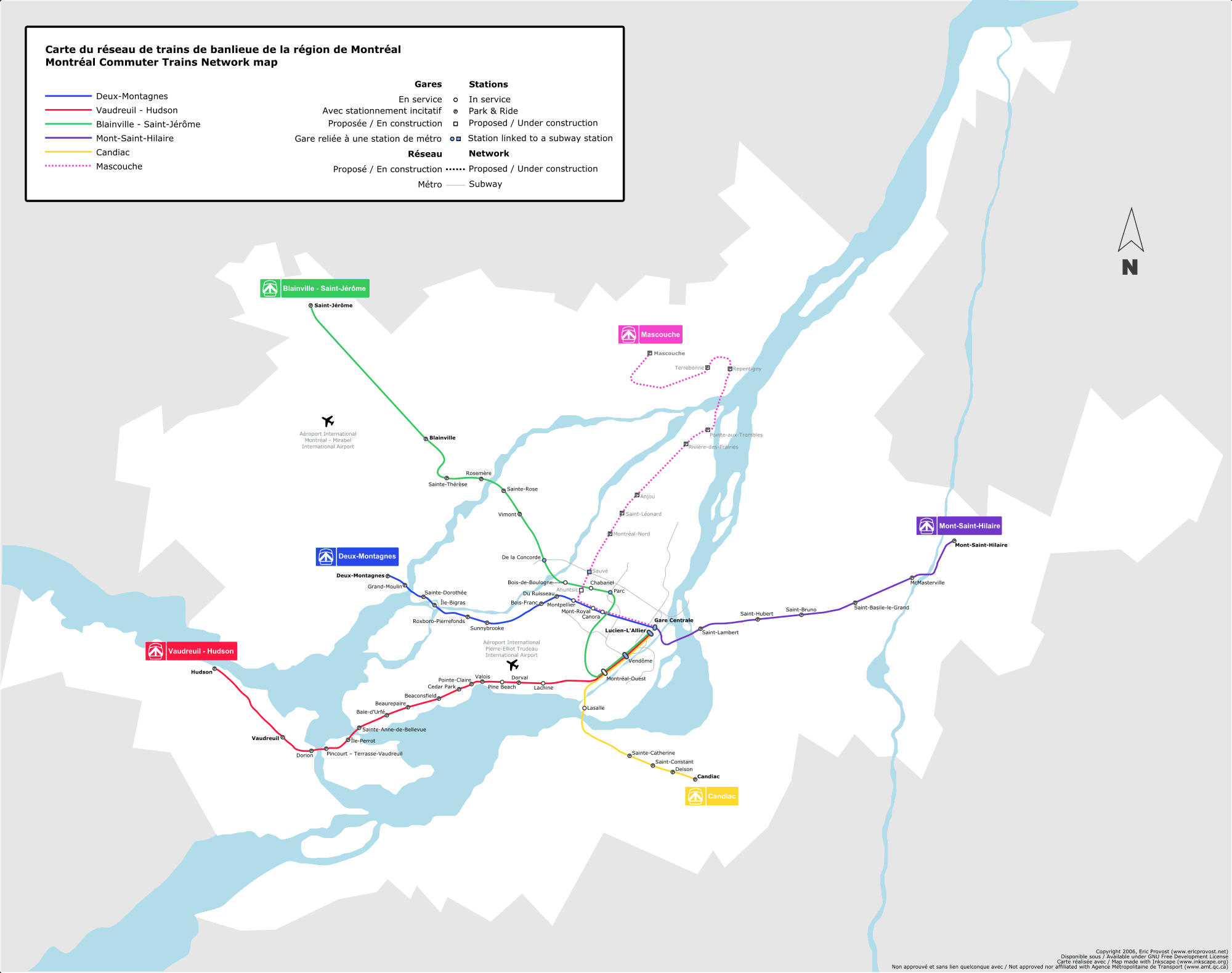 Map of the AMT Commuter Rail system in Montreal