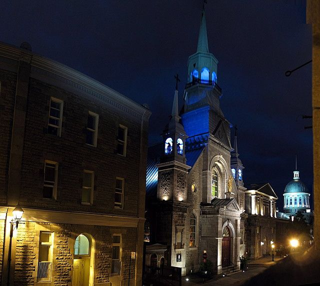 Looking towards Notre-Dame-de-Bon-Secours and Bonsecours Market from Rue St-Paul