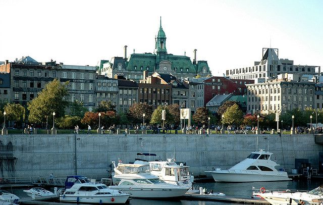 View of Montreal City Hall from the Old Port Promenade