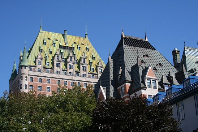 Looking up at Château Frontenac