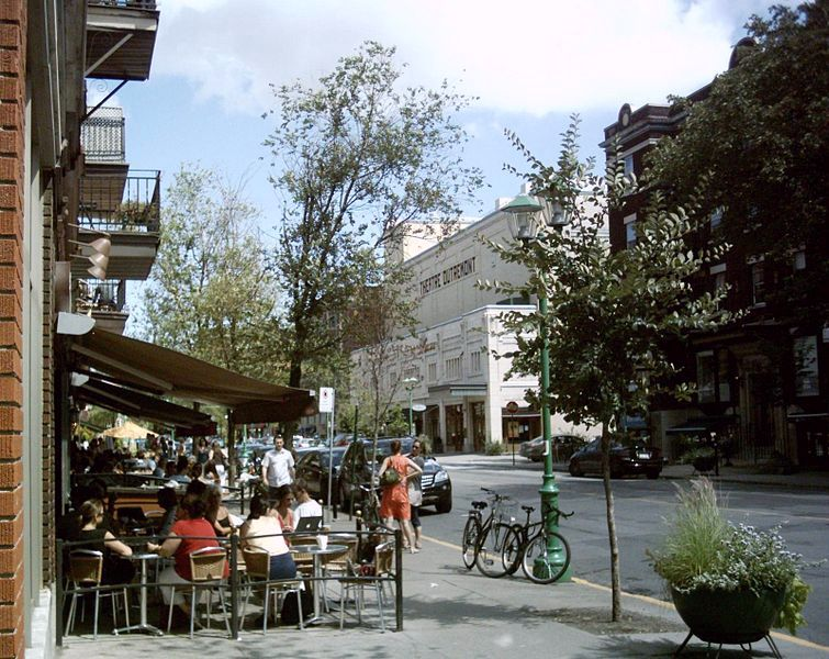 Sidewalk cafes on Rue Bernard in Outremont