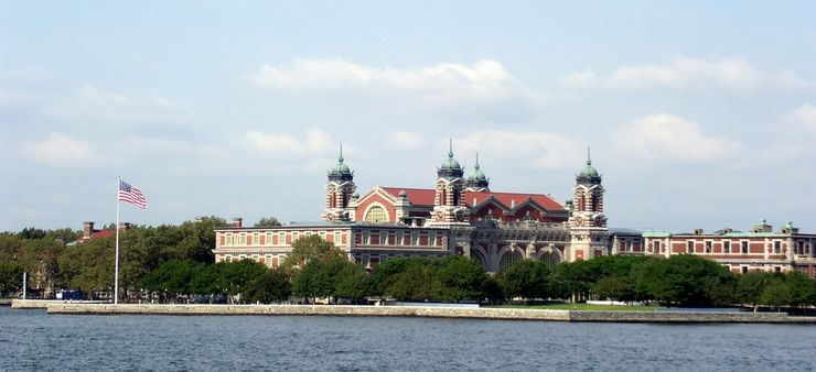 View of Ellis Island Immigration Museum from Ferry