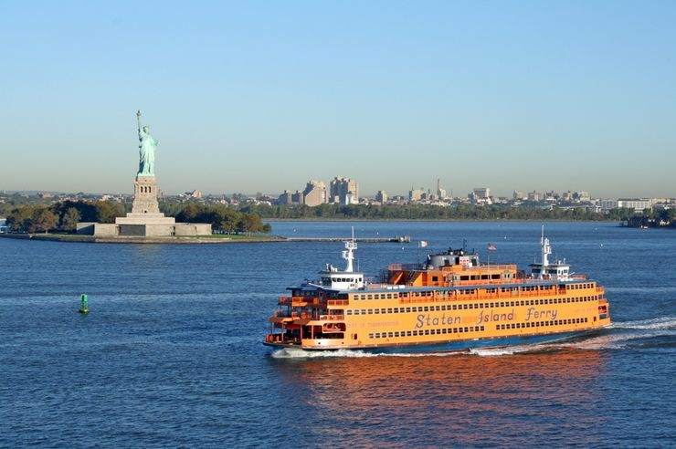 The Staten Island Ferry passing the Statute of Liberty