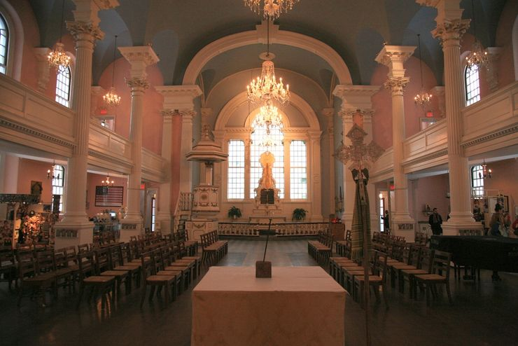 Interior of St Pauls Chapel in New York City