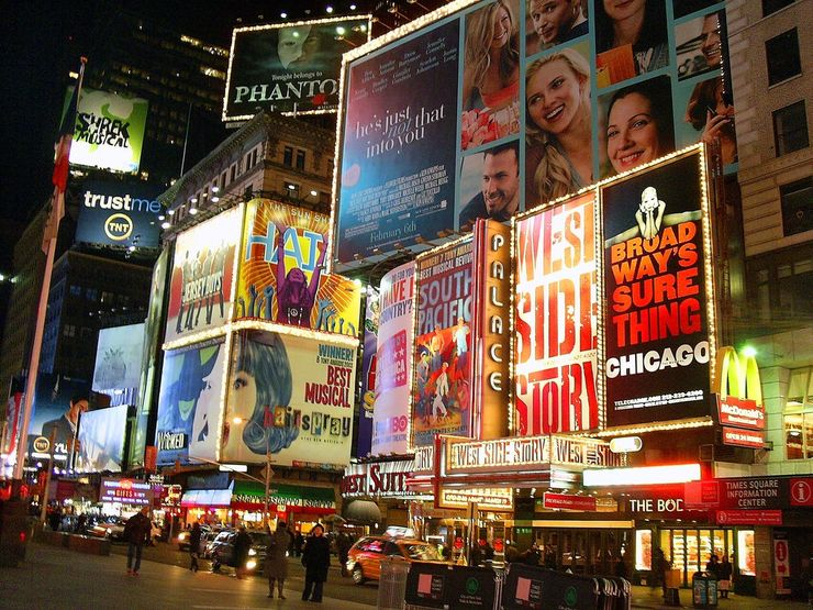 Collage of Signs featuring Broadway Shows
