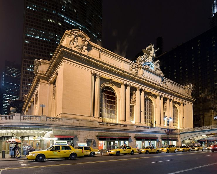 Taxi Cabs Lined up outside the iconic Grand Central Terminal in New York City