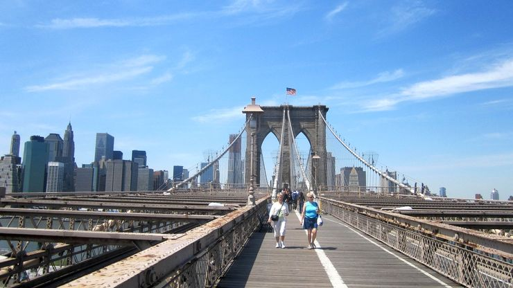 Enjoying a nice day walking across the Brooklyn Bridge