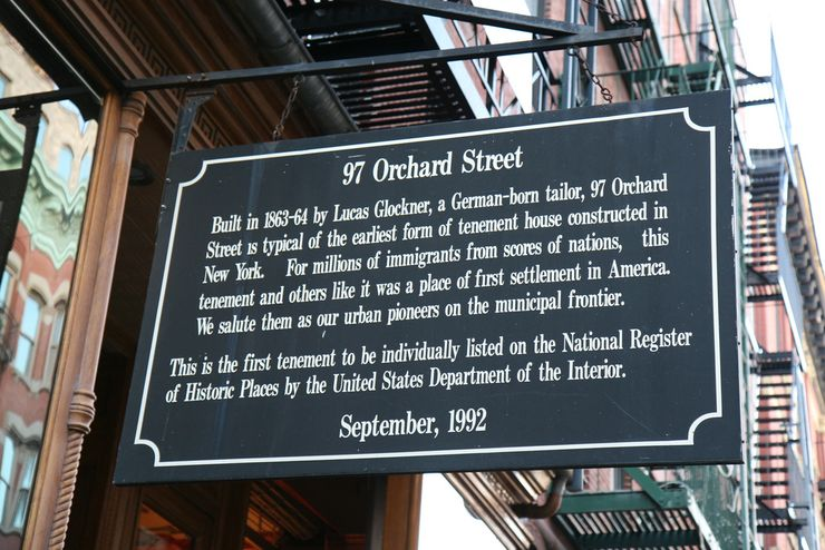 Entrance sign outside the Tenement Museum in NYC