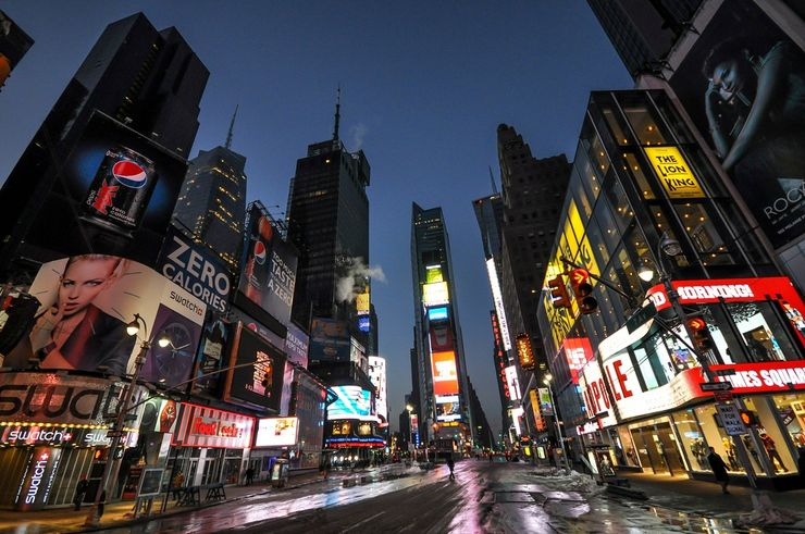 New York's Iconic Times Square at the break of dawn