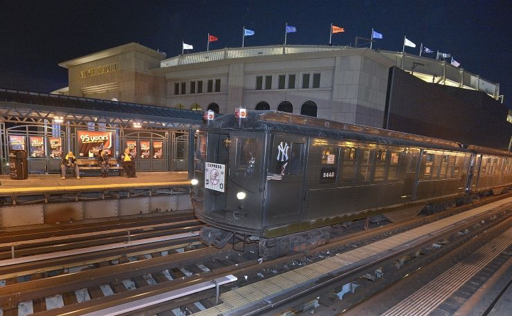 MTA nostalgia subway train stopped at the new Yankee Stadium