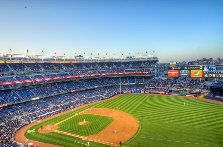 Overlooking the field and stands of the New Yankee Stadium