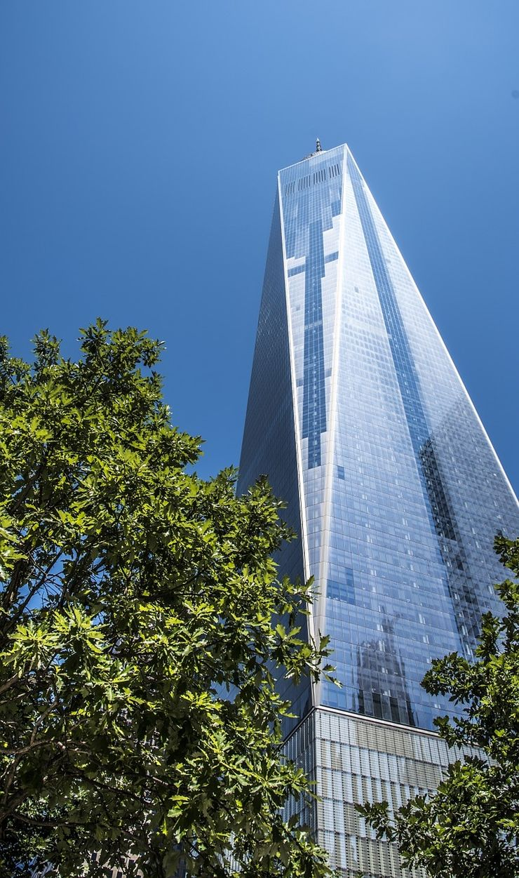 Looking up at One World Trade Center from below