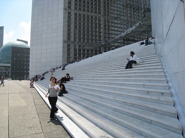 A close up of the stairs leading to the Arche de la Défense add a sense of scale to this huge monument