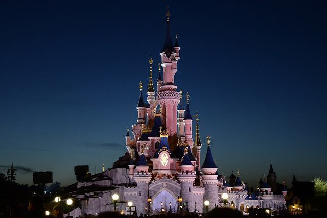 Night settles on Sleeping Beauty's Castle in Disneyland Paris