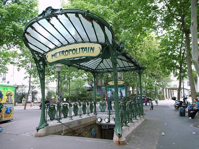 Entrance to a Paris Metro Station featuring one of the famous Art Nouveau METROPOLITAIN signs
