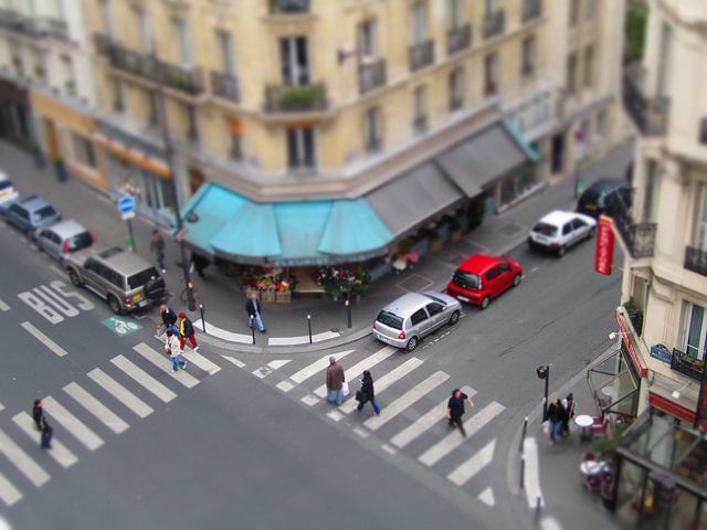 Close up of a Paris street corner in France Miniature