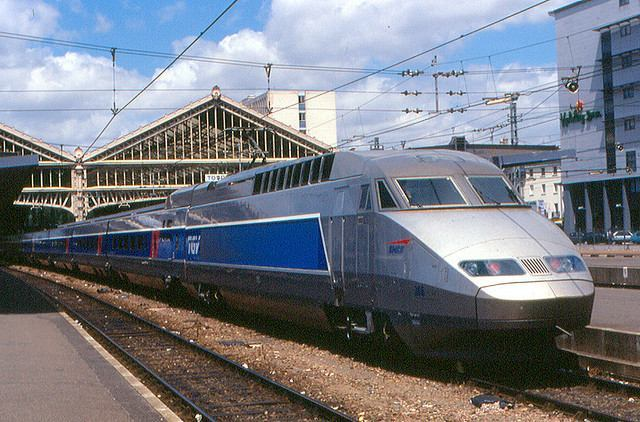 A Highspeed TGV Train at a station in Tours France
