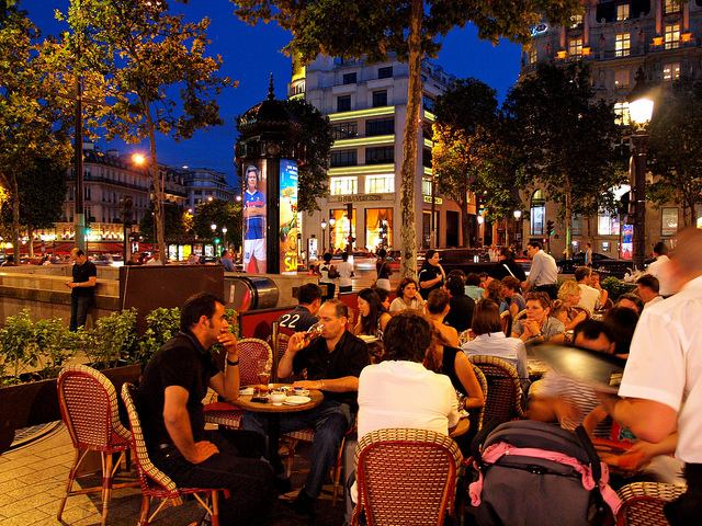 Enjoying the thriving cafe culture in the Latin Quarter of Paris
