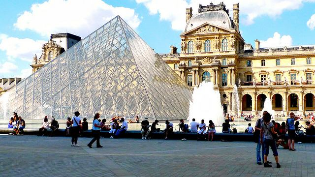 Famous Glass Pyramid entrance to the Louvre