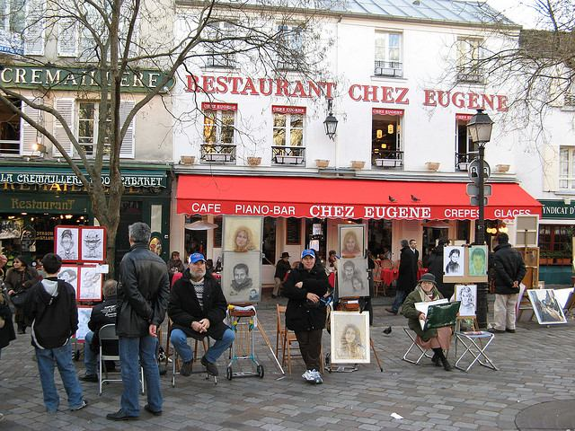 Artist display their works at Place du Tertre in Montmartre