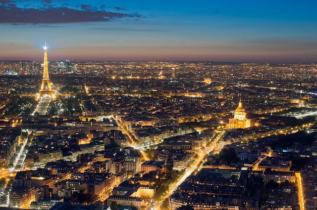 Spectacular view of Paris at night from on top of Tour Montparnasse