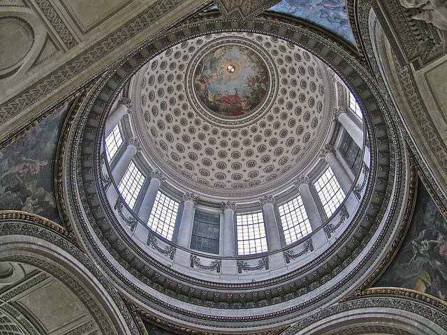 Looking up inside the dome of the Pantheon in Paris