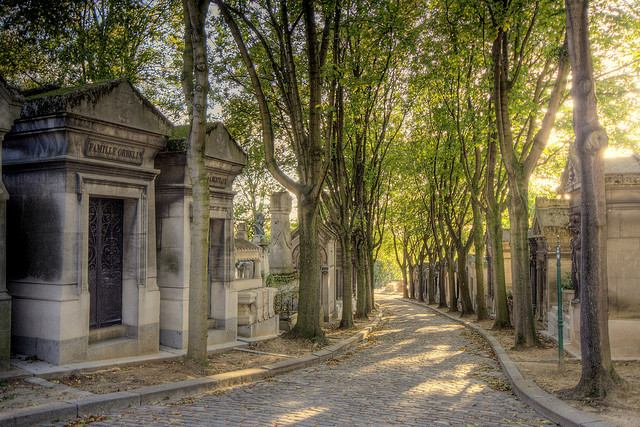 Tree lined walkway through the Père-Lachaise Cemetery