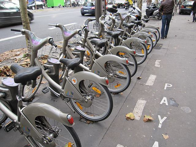 Paris Velib bicycle station