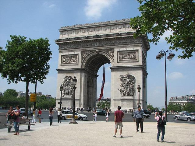 View of the Arc de Triomphe from across the traffic circle