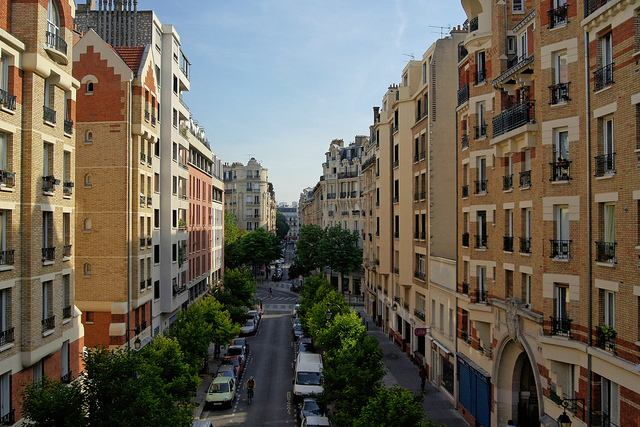 View down a Paris street from the Promenade Plantee