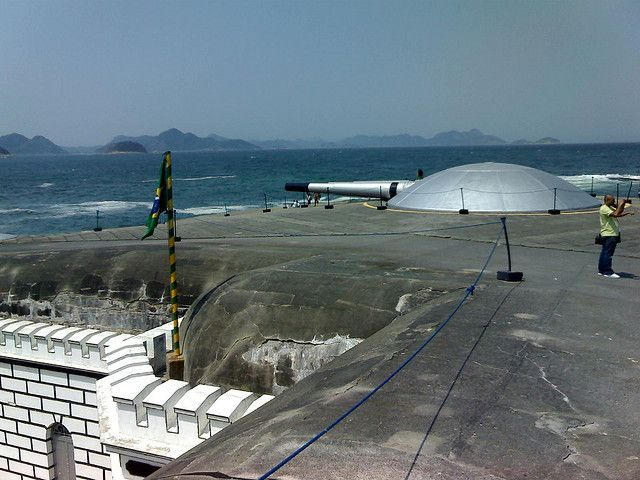 Canons aimed across the entrance to Guanabara Bay from Fort Copacabana