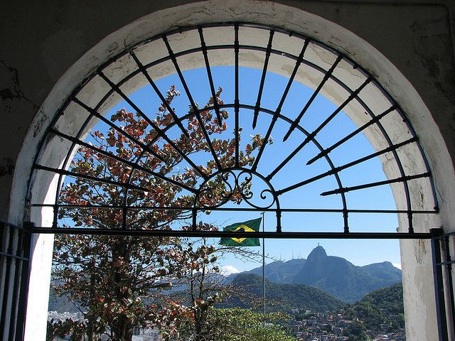 Beautiful view towards Corcovado from inside the Fort
