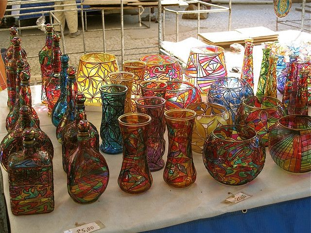 Colour handcrafted vases on display at the Ipanema Hippie Fair Craft Market