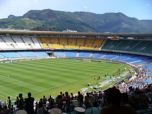 Maracanã Stadium with mountains in the background