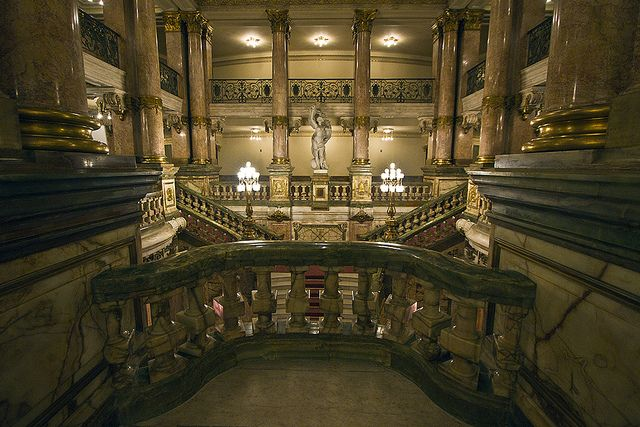 Opulent staircases and balconies inside the Municipal Theatre in Rio